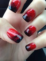 Halloween Gel Nail Designs 2018 Red And Black Halloween Gel Nails