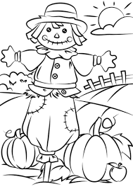 Small Picture Autumn Scene with Scarecrow coloring page Free Printable