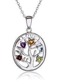 silverluxe womens sterling silver tree of life pendant with genuine gemstones necklace 18 com