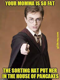 Image of: Your Momma Is So Fat The Sorting Hat Put Her In The House Of Pancakes Mgflip Know Your Meme Yo Mama Joke Harry Potter Know Your Meme