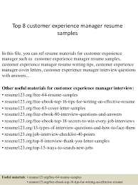 customer experience manager top 8 customer experience manager resume samples 1 638 jpg cb 1428492449