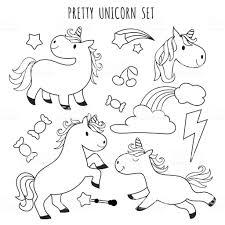 Kids Kleurplaten Pagina Unicorn Instellen Voor Kleuren Boek
