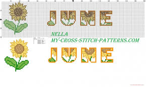 Dish Towels With Sunflowers Month June Free Cross Stitch