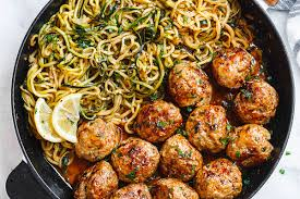 ground turkey meatball recipes.  Recipes Recipe Cards Menu  Garlic Butter Turkey Meatballs With Lemon Zucchini  Noodles To Ground Meatball Recipes G