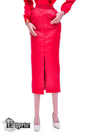 red leather midi pencil skirt with pockets for fashion royalty fr 16 and similar size dolls