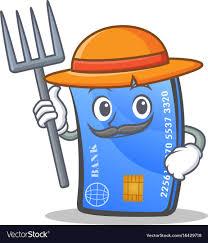 farmer credit card character cartoon vector image