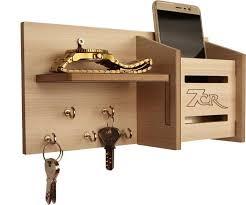 7CR pocket with shelf Wooden Key Holder