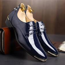 hot men patent leather dress shoes 2017 fashion wedding shoes breathable business shoes lace up flat shoe mens oxfords size 38 48
