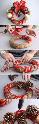 creative homemade christmas decorations. Diy-christmas-wreath-tutorial-ribbons-pine-cones Creative Homemade Christmas Decorations