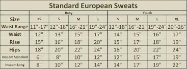 European Size Chart European Sweats