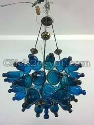 b180 half ball mouth blown turquoise glass chandelier