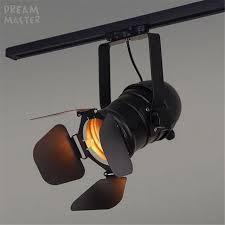 vintage track lighting. Vintage E27 Track Light Loft Industrial Spotlight Rail Black Lamp With Barndoor Clothes Store Lighting G