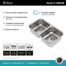 kraus 32 inch undermount 50 50 double bowl 18 gauge stainless steel kitchen sink with
