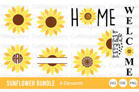 Includes all designs in preview photo :) this design is printable. Sunflower Bundle Graphic By Cutfilesgallery Creative Fabrica