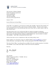 letter of recommendation for student with disabilities reference letter the university of british columbia justin tillyer