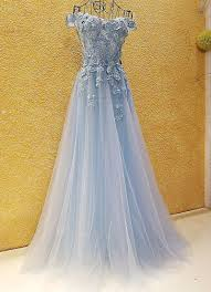 Light Pink And Light Blue Prom Dresses Us 163 19 Prom Dresses Cheap Light Blue Pink Off The Shoulder Appliqued Lace Corset Back Tulle Anrobe Longue Femme Soiree Mariage In Prom Dresses