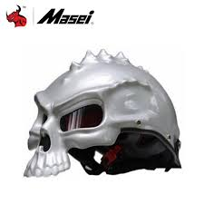 masei retro casque moto half face novelty helmet dual use skull