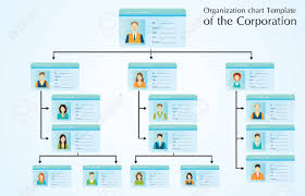 Organizational Chart Template Of The Corporation Business Hierarchy