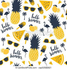 Pineapple Pattern Delectable Summer Pattern Watermelon Pineapple Vector Illustration