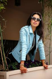 viva luxury annabelle fleur baby blue leather jacket