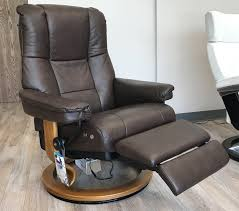 stressless mayfair leg comfort power footrest paloma chocolate leather recliner chair by ekornes