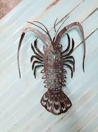 fish wall art lobster art metal art nautical art beach house decor coastal metal wall art