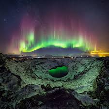 Stunning Northern Lights Reflected Stunning Northern Volcanic Iceland Lights