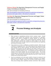 Process Design And Analysis In Operations Management Solutions Manual For Operations Management Processes And
