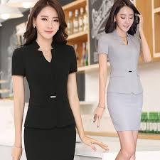 hotel manager front desk uniform summer wear dress suit skirt short sleeves dress up interview overalls