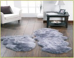 faux sheepskin rug grey