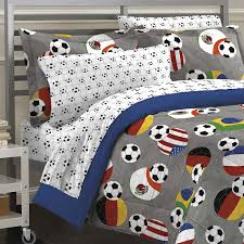 soccer fever teen bedding comforter set gray twin comforter set features multicolored soccer on a solid gray background and reverses to nautical