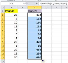 Lbs To Grams Conversion Chart How To Quickly Convert Pounds To Ounces Grams Kg In Excel