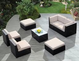 modern and sleek white cushion sets for outdoor wicker furniture