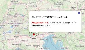 Terremoto oggi in Trentino Alto Adige, 22 febbraio 2021: scossa M 3.5 in  provincia di Trento – Dati INGV