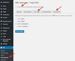 yoast sitemap settings