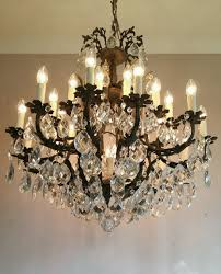 c1910 french 24 arm birdcage crystal chandelier