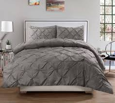 3 piece luxurious pinch pleat decorative pintuck comforter set