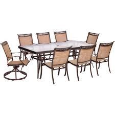 hanover fontana 9 piece aluminum outdoor dining set with rectangular glass top table and