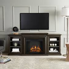 real flame frederick 72 in freestanding electric fireplace tv stand in teakwood gray