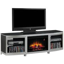 classic flame gotham electric fireplace insert home theater mantel in black silver metal