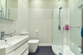 Inspiration for a mid-sized contemporary 3/4 white tile and subway tile  corner