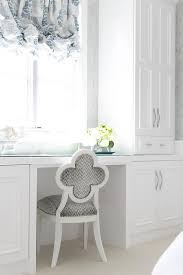 blue and gray quatrefoil vanity chair