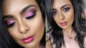 valentine s day sparkly pink makeup y glamorous date night makeup on tan brown indian skin