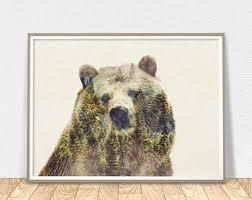 bear wall art animal print grizzly bear print forest animal poster bear room decor