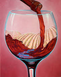 and let there be wine 30x24 hand embellished giclee