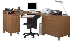 image of wood l shaped office desks