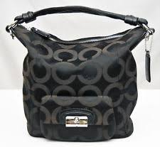 COACH KRISTIN~BLACK SIGNATURE OP ART HOBO SHOULDER HANDBAG  14753