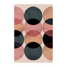 watercolour circles vinyl floor mat 99x150cm