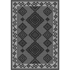 sunshine collection grey black 8 ft x 10 ft outdoor patio area rug