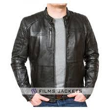 men s quilted shoulder black leather biker jacket